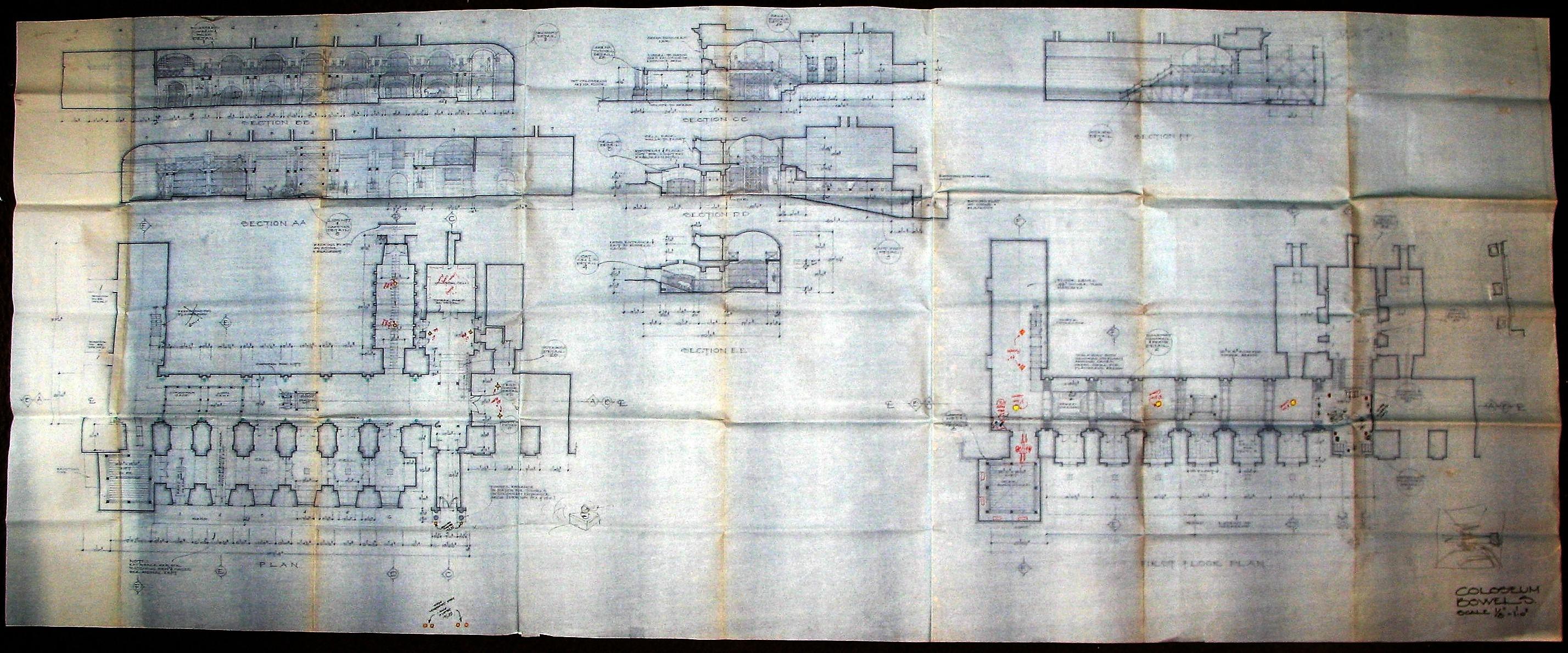 Blueprint: Colosseum Art Print by Eric Yang   iCanvas  Roman Colosseum Blueprints